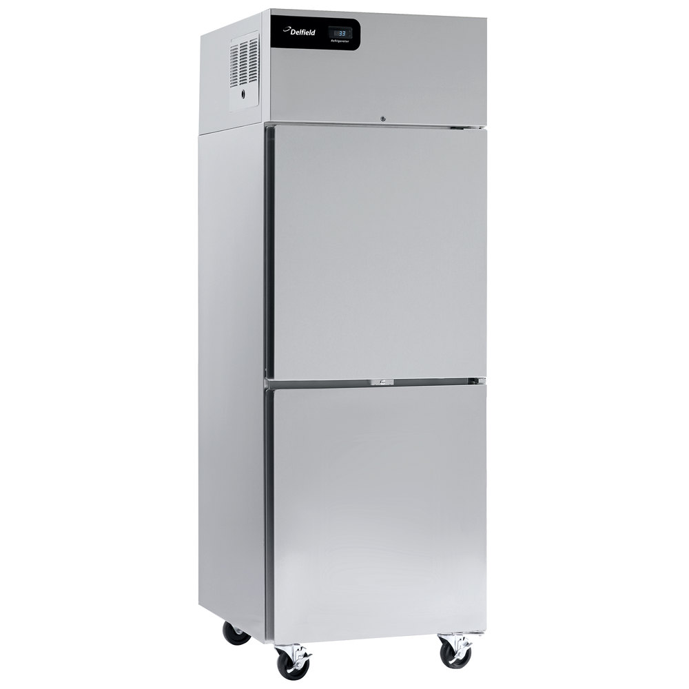 """Delfield GBR1P-SH Coolscapes 27"""" Top-Mount Solid Half Door Stainless Steel  Reach-In Refrigerator with Stainless Steel Exterior / Aluminum Interior"""