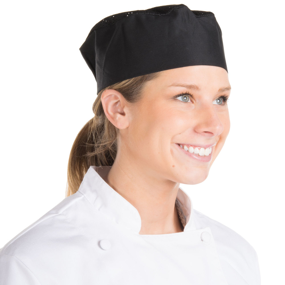 "Gas Ranges >> Chef Revival 20""-22"" Black Pill Box Chef Hat / Skull Cap"