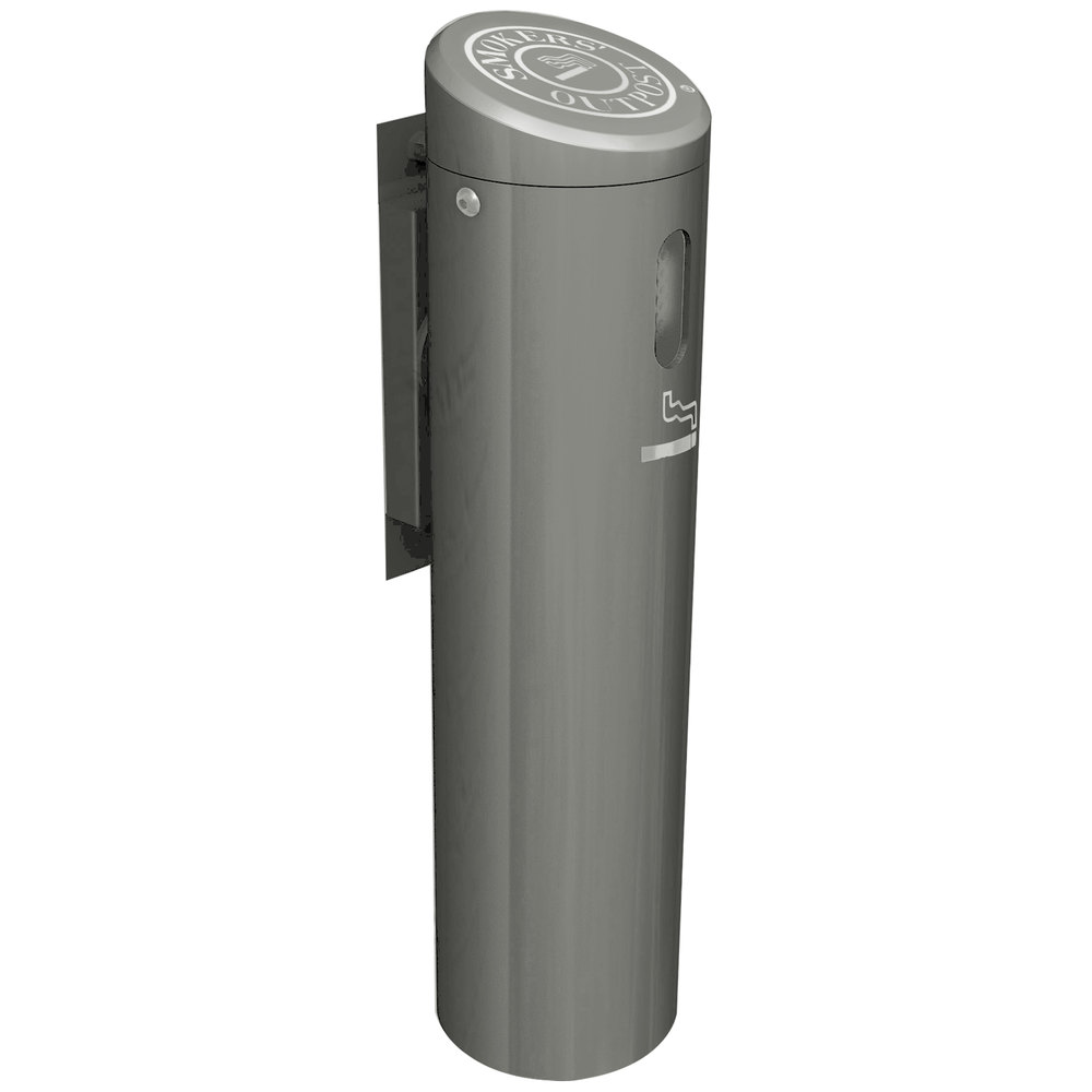 commercial zone outpost silver wallmounted cigarette receptacle with swivel system