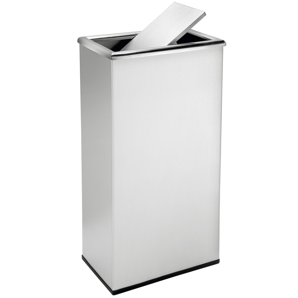 Commercial zone 780829 precision 13 5 gallon stainless steel trash receptacle and rectangular - Rectangular garbage cans ...