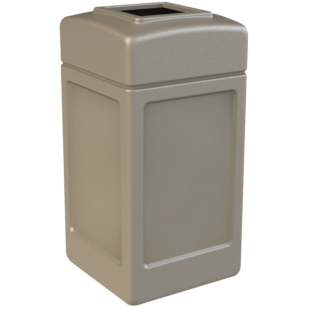 Industrial Garbage Containers : Commercial zone polytec gallon beige waste container