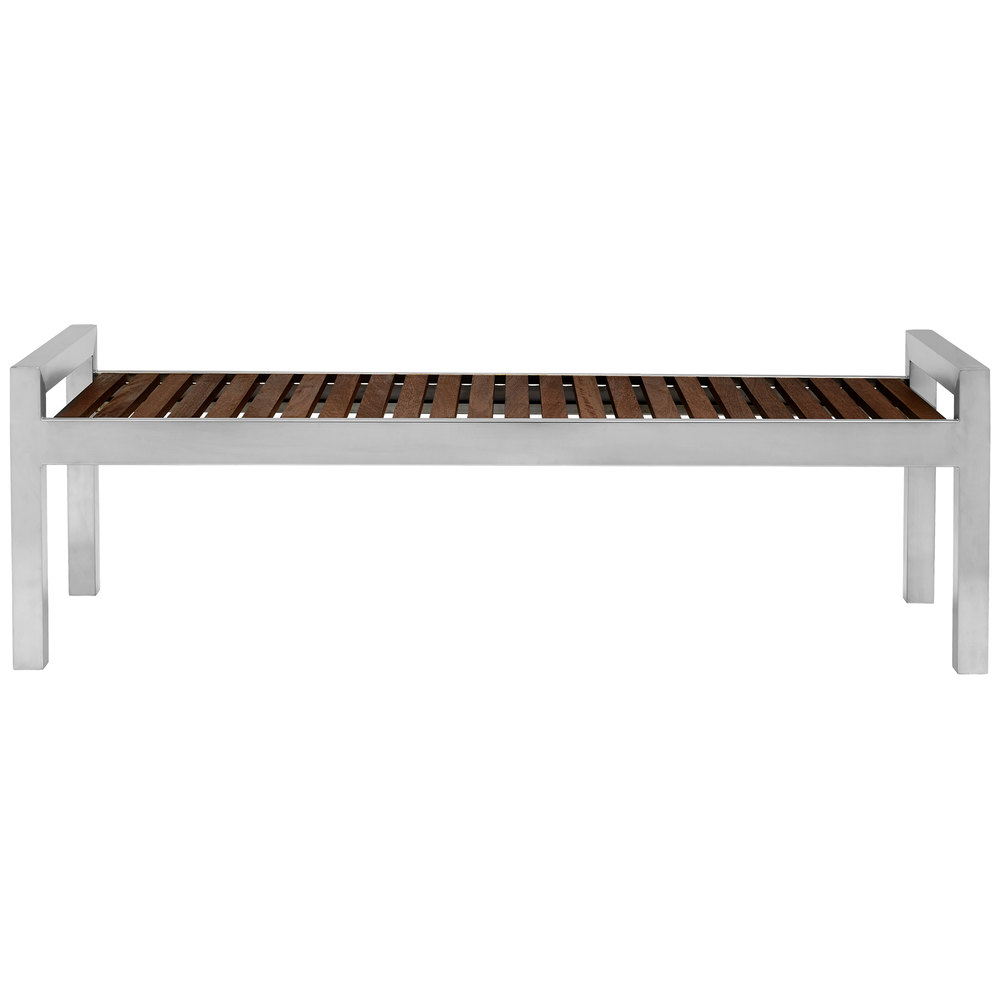 Commercial Zone 725453 Skyline Series 5 39 Espresso Wood And Stainless Steel Indoor Outdoor Bench