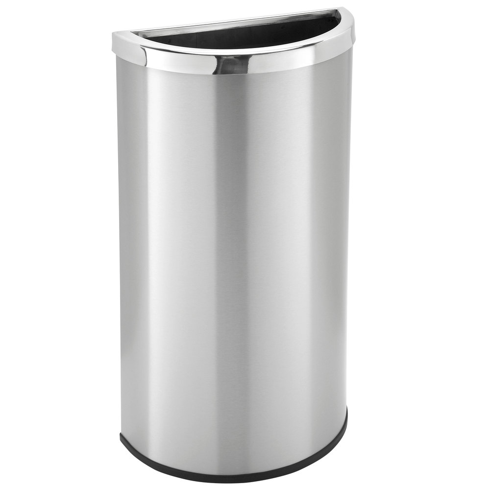 commercial zone precision 8 gallon half moon stainless steel flat sided trash receptacle