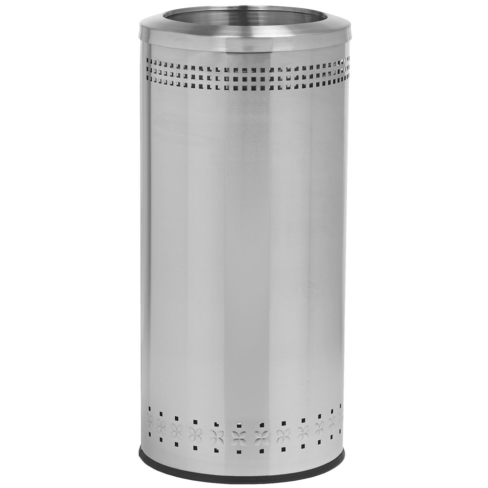 commercial zone precision 25 gallon imprinted stainless steel trash receptacle and open top lid set