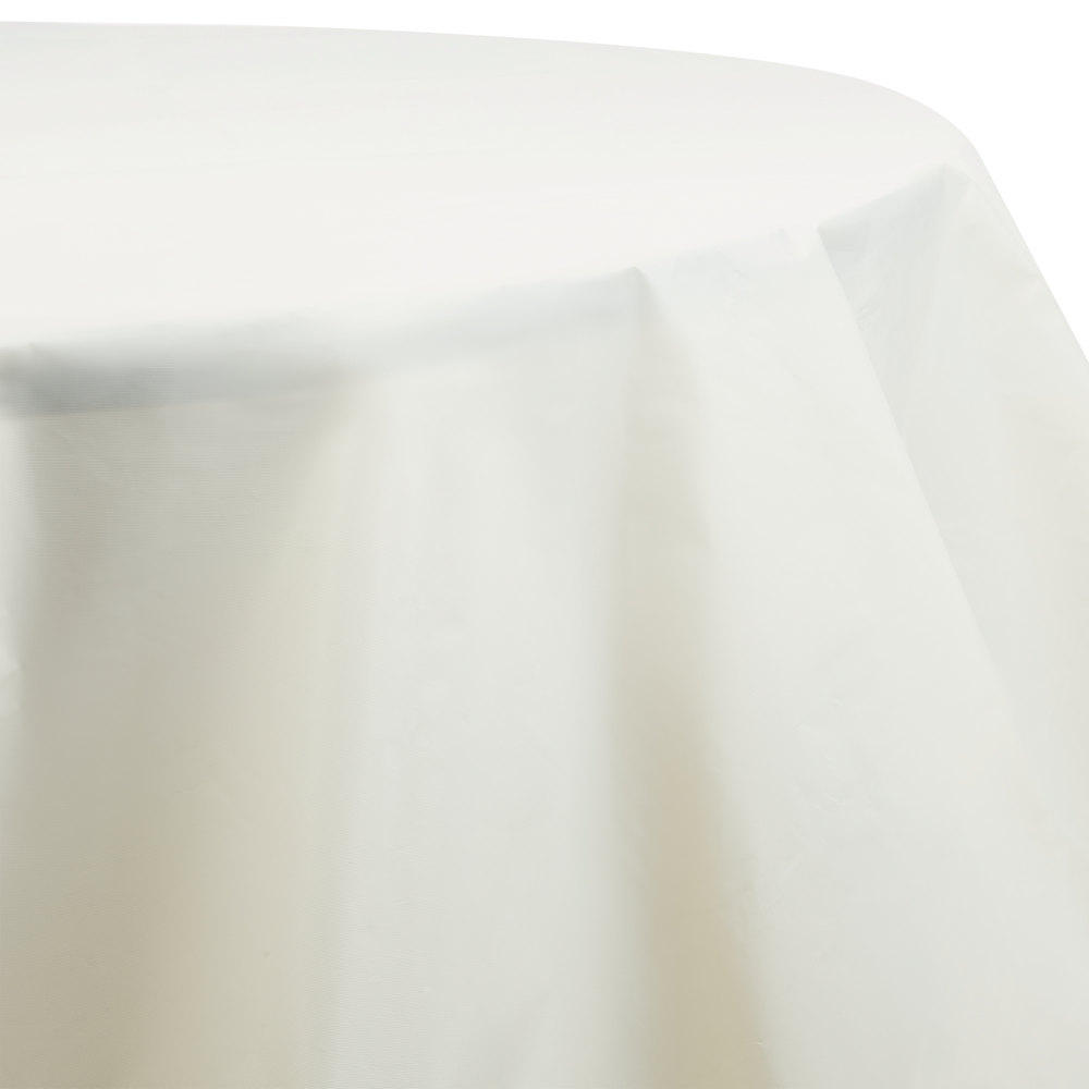 Ivory Octyround Disposable Plastic Table Cover Main Picture