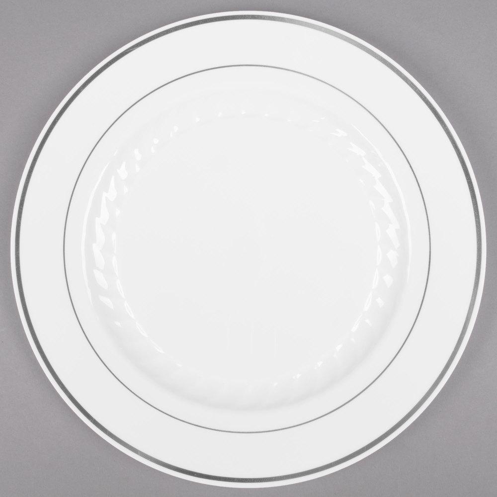 """6swhite Silvers: Fineline Silver Splendor 506-WH 6"""" White Plastic Plate"""