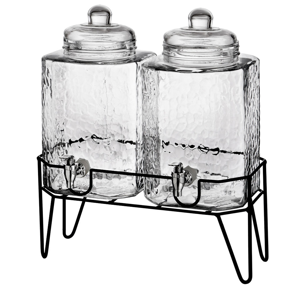 double 1 5 gallon style setter hamburg glass beverage dispenser with metal stand. Black Bedroom Furniture Sets. Home Design Ideas