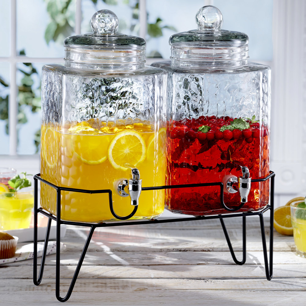 jay imports double 1 5 gallon style setter hamburg glass beverage dispenser with metal stand. Black Bedroom Furniture Sets. Home Design Ideas