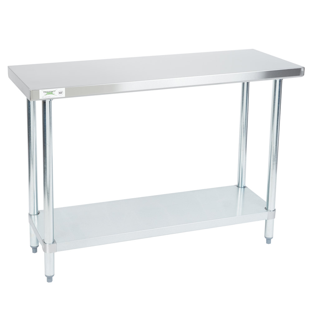 Regency 18 inch x 48 inch 18-Gauge 304 Stainless Steel Commercial Work Table with Galvanized Legs and Undershelf