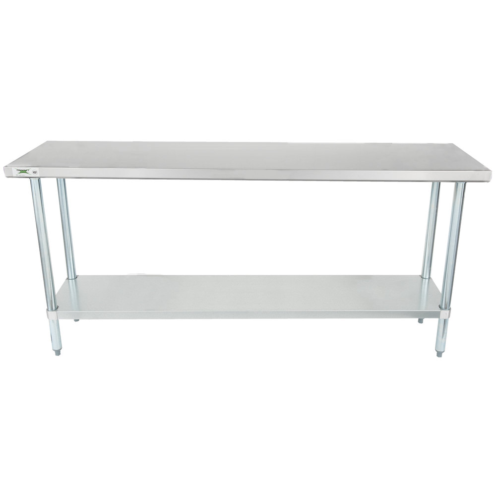 Regency 18 Inch X 72 Inch 18 Gauge 304 Stainless Steel Commercial Work Table  With ...