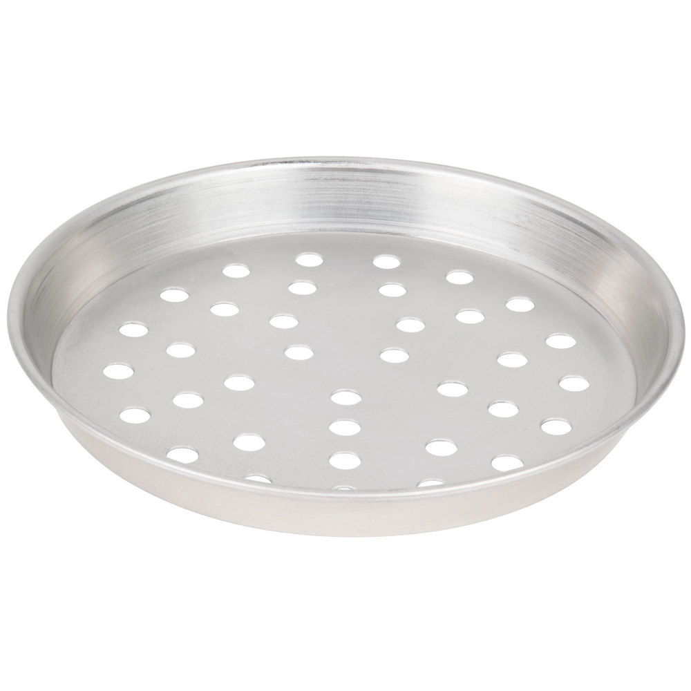 "American Metalcraft TDEP10P 10"" x 1"" Perforated Tin-Plated Steel Tapered / Nesting Deep Dish Pizza Pan"