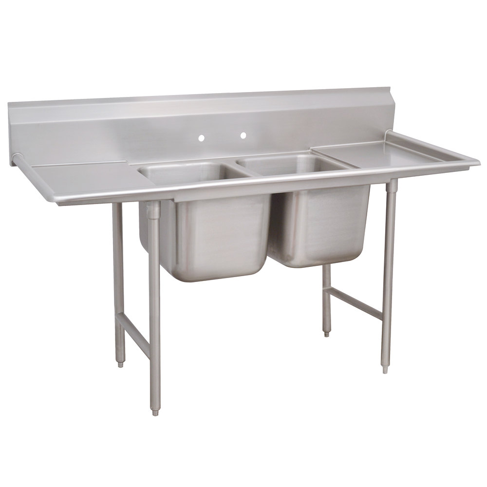 Advance Tabco 93-62-36-18RL Regaline Two Compartment Stainless Steel Sink with Two Drainboards - 77""