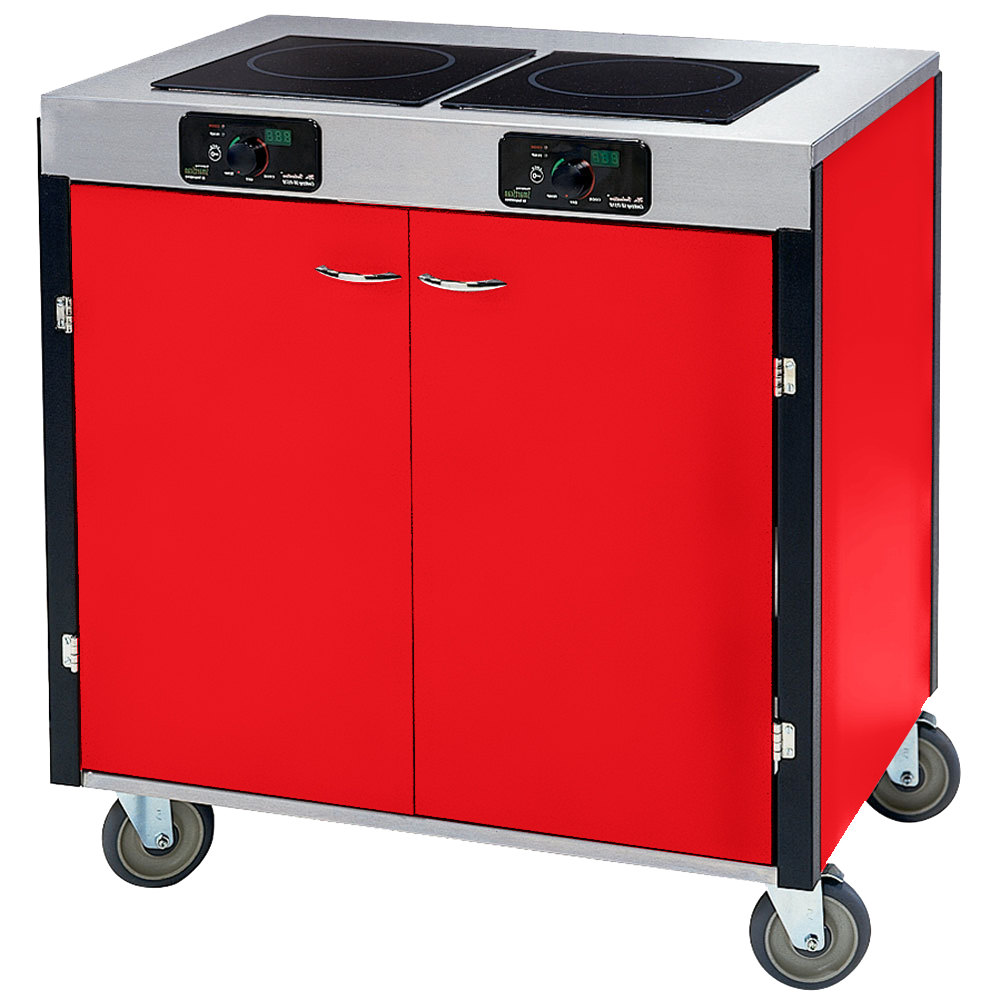 "Lakeside 2075 Creation Express Mobile Cooking Cart with 2 Induction Burners, 1 Filtration Unit, and Red Laminate Finish - 22"" x 34"" x 40 1/2"""