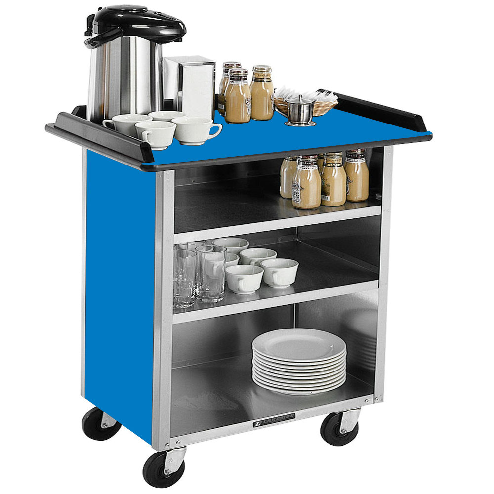 "Lakeside 678 Stainless Steel Beverage Service Cart with 3 Shelves and Royal Blue Laminate Finish - 40 3/4"" x 24"" x 38 1/4"""