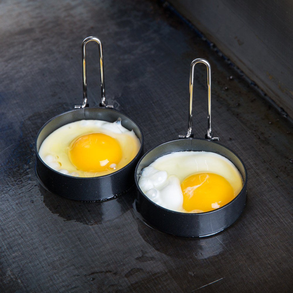 "3"" Black Non-Stick Egg Ring with Handle - 2 / Pack"