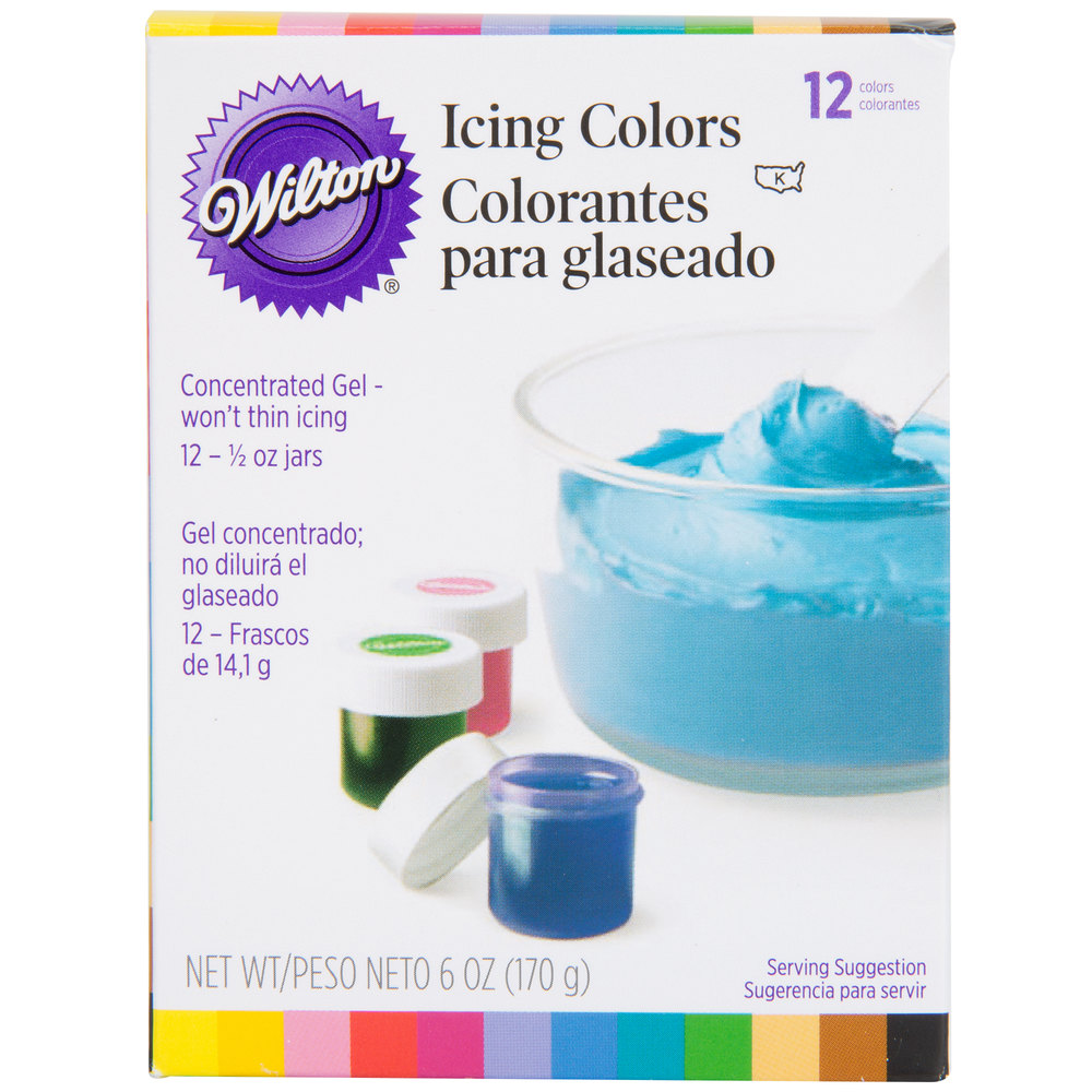 Wilton 601 5580 12 pack of 5 oz gel food colors 12pack main picture nvjuhfo Images
