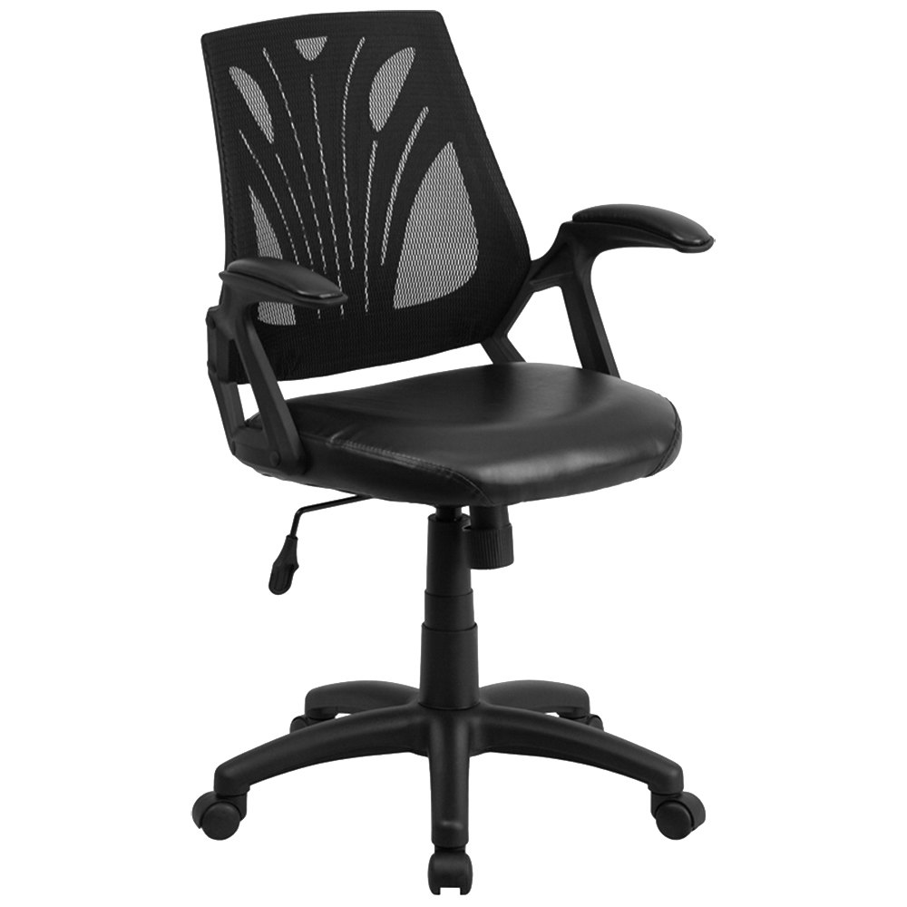 Polyurethane Casters For Office Chairs ... -Back Black Mesh and Leather Ergonomic Office Chair with Padded Arms
