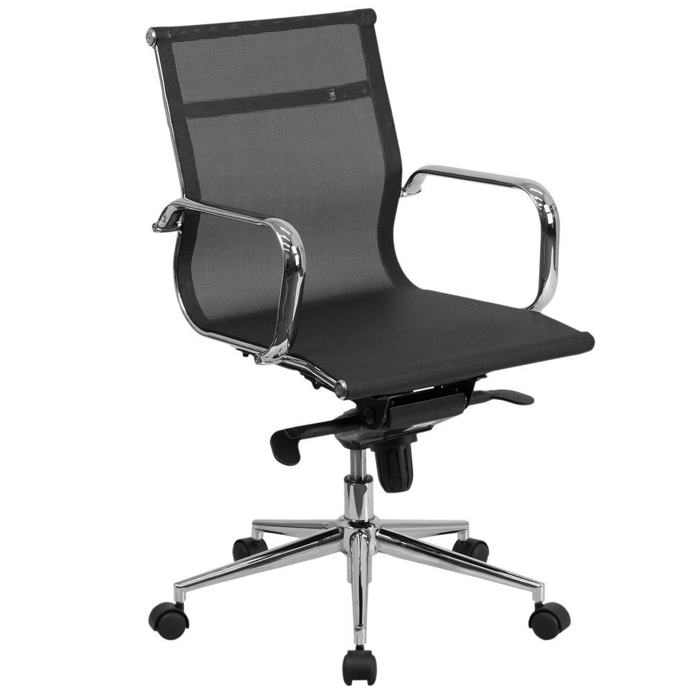 back black mesh executive office chair with chrome arms and tilt