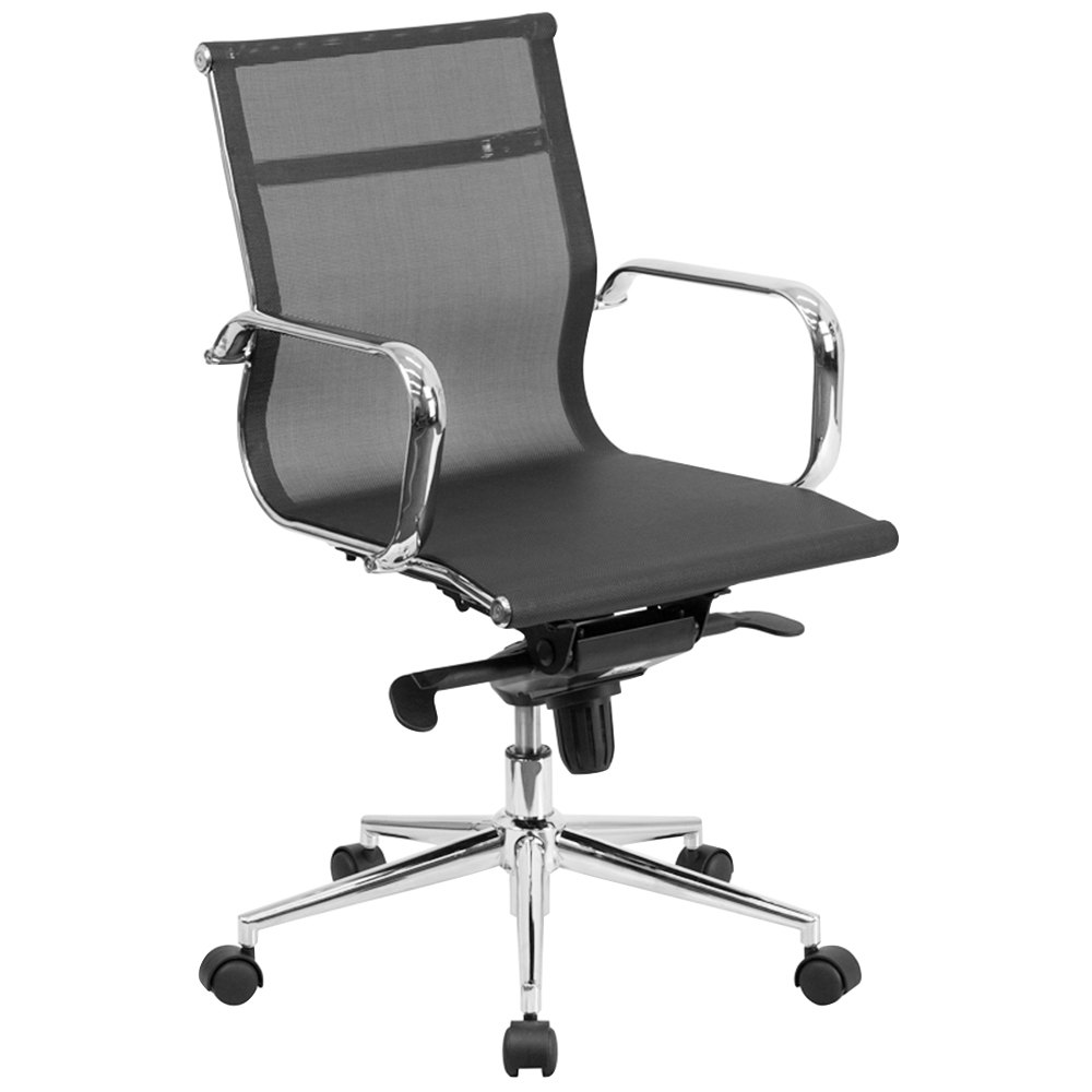 mid back black mesh executive office chair with chrome arms and tilt