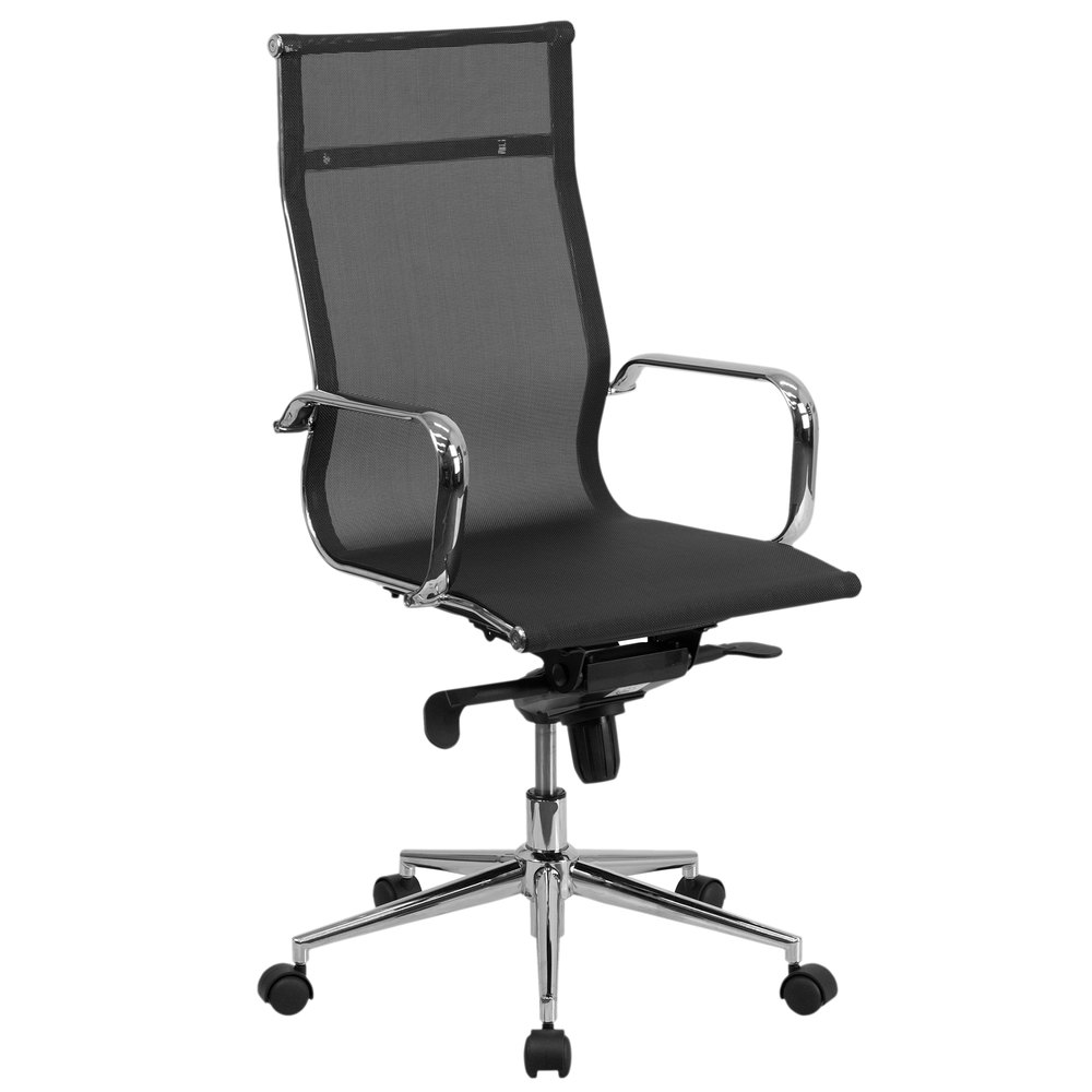 Flash Furniture BT-2768H-GG High-Back Black Mesh Executive Office Chair  with Chrome Arms and Tilt Adjustment - Flash Furniture BT-2768H-GG High-Back Black Mesh Executive Office