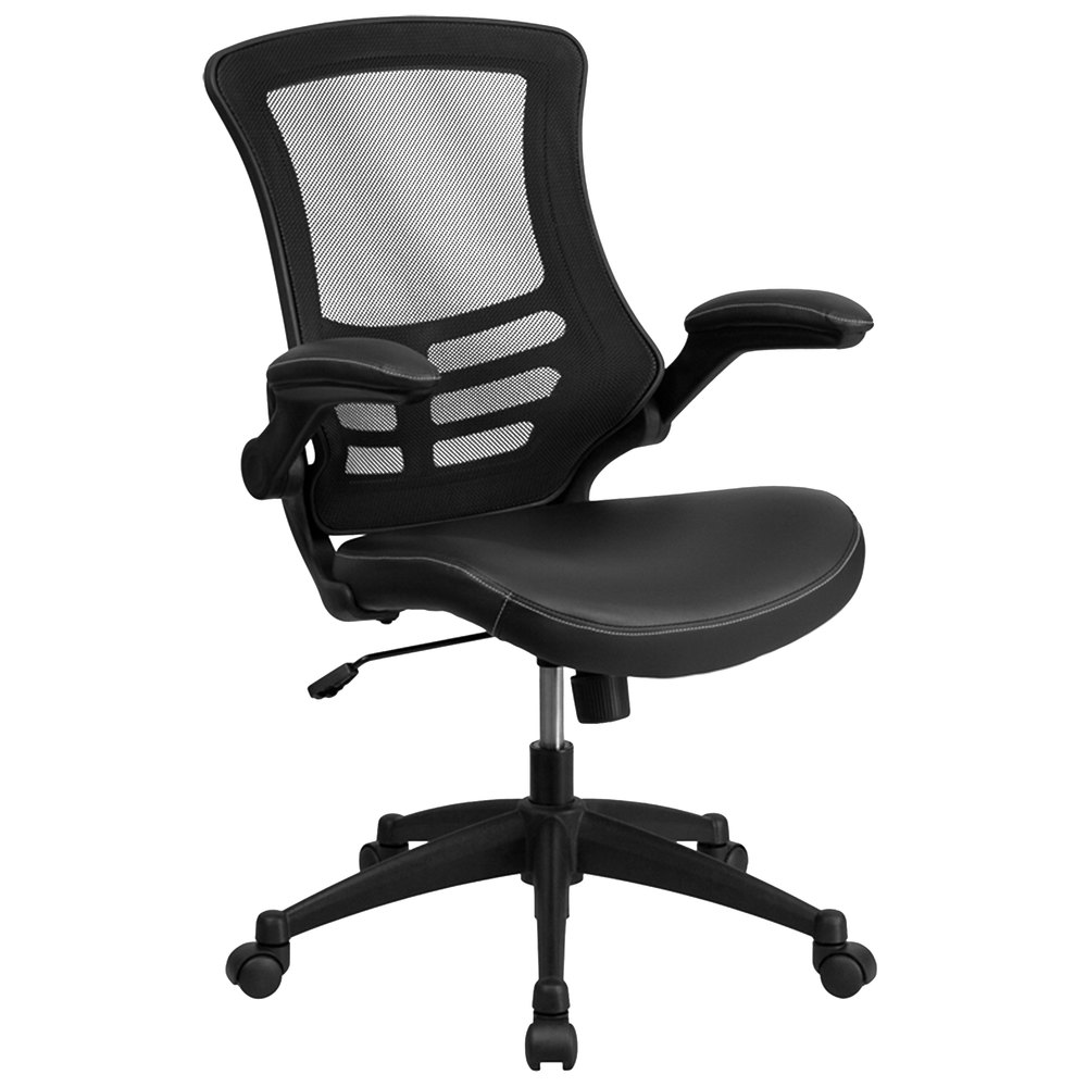 Polyurethane Casters For Office Chairs ... Black Mesh and Leather Office Chair with Flip-Up Arms and Nylon Base