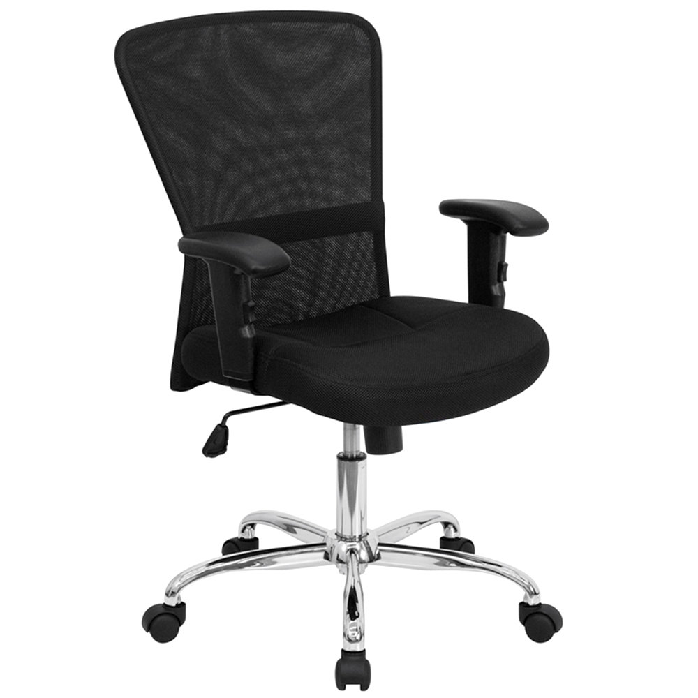 Mid Back Black Mesh Office Computer Chair With Adjustable T Arms And Chrome