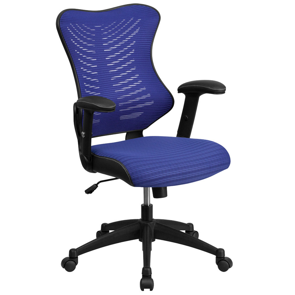 High back blue mesh executive office chair with padded for Blue office chair