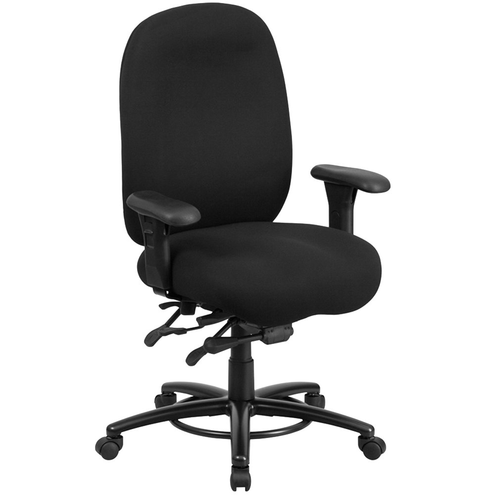 Black fabric chair - Flash Furniture Lq 1 Bk Gg High Back Black Fabric Intensive Use Multi Functional Swivel Office Chair