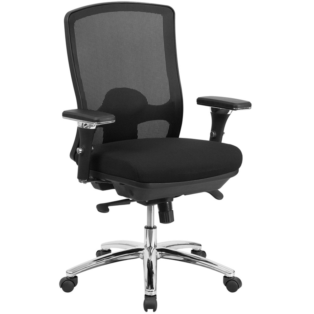 mid back black mesh intensive use multi functional swivel office chair