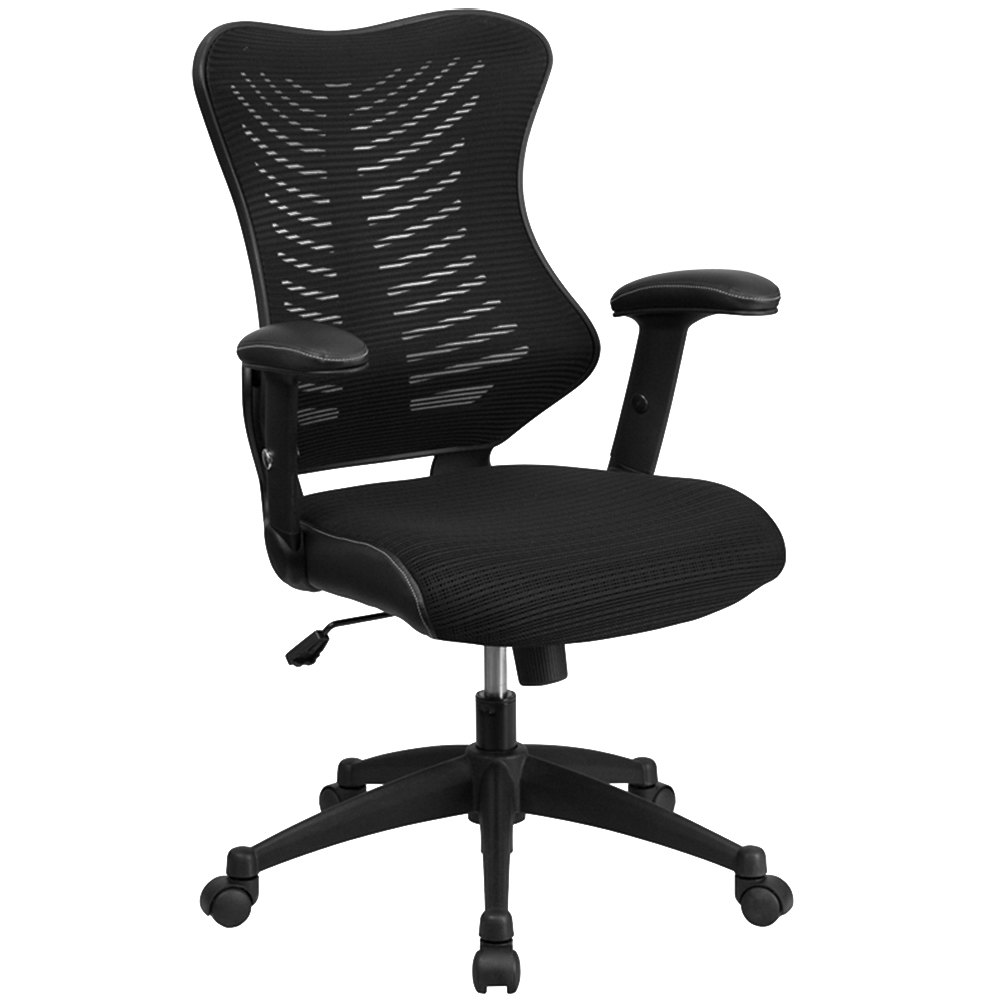 High Back Black Mesh Executive Office Chair With Padded Seat And Nylon Base