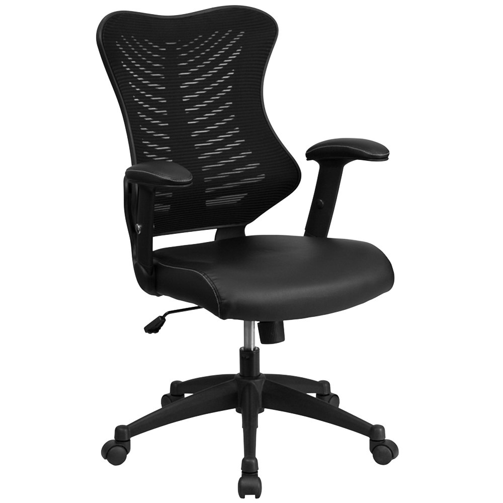 back black mesh executive office chair with leather seat and nylon