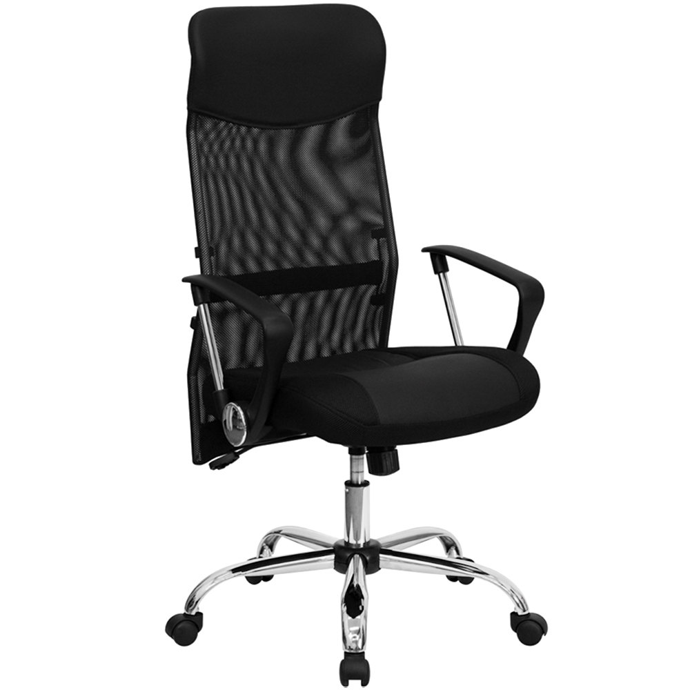 High Back Black Mesh Office Chair With Split Leather And Mesh Seat And Chrome