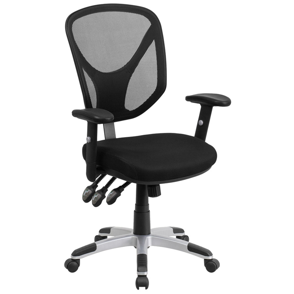 Mid back black mesh ergonomic office chair with triple for Ergonomic chair