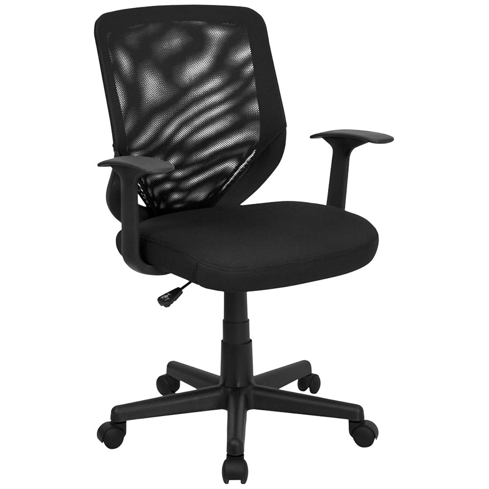 Mid Back Black Mesh Office Chair With Mesh Fabric Seat And Nylon Base