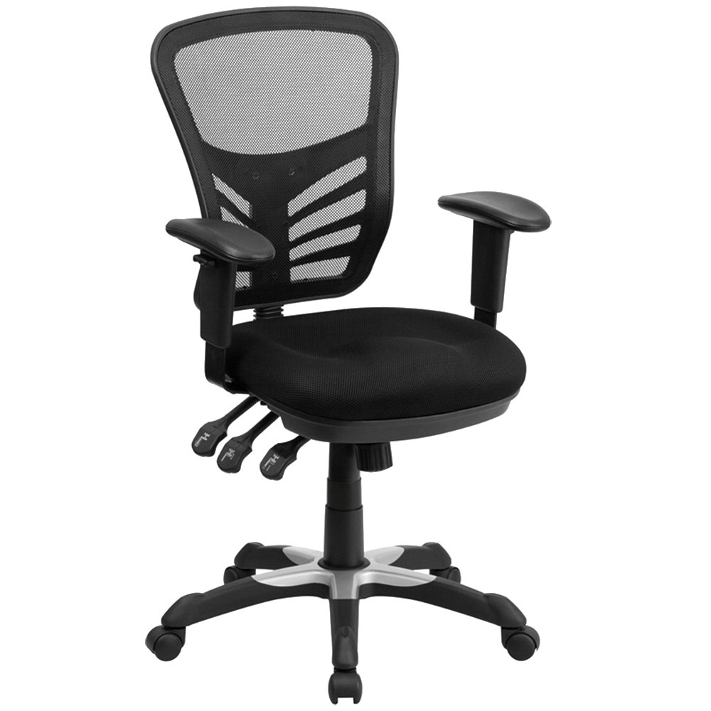 flash furniture hl-0001-gg mid-back black mesh office chair with