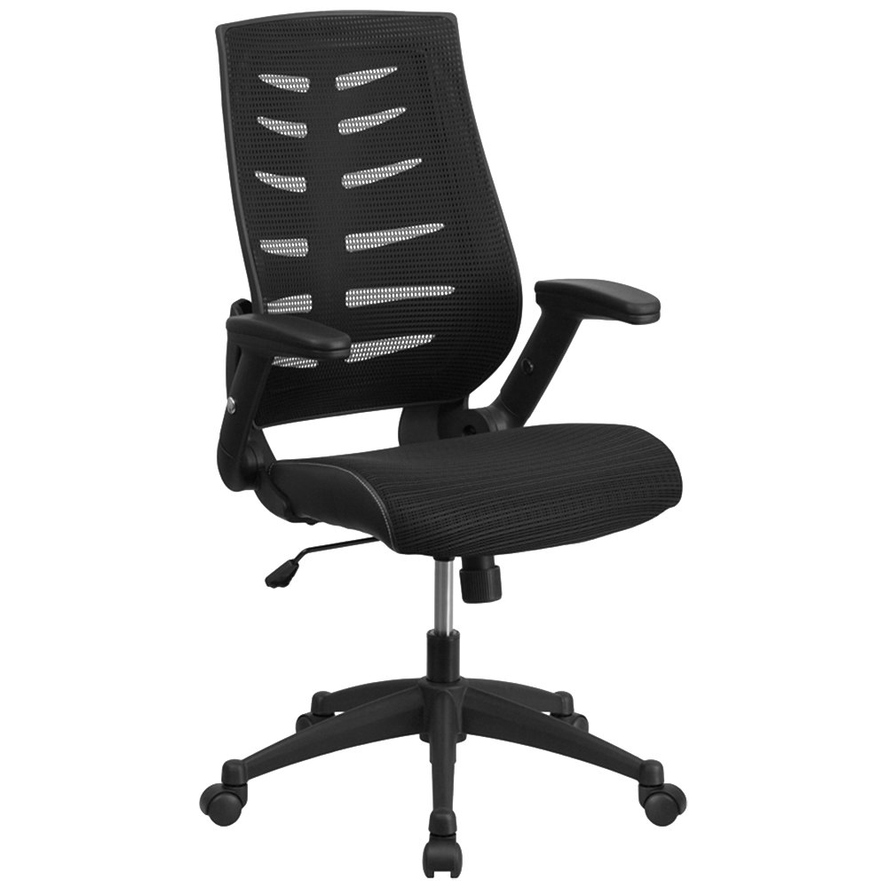 High Back Black Mesh Office Chair With Designer Fabric Seat Flip Up Arms An