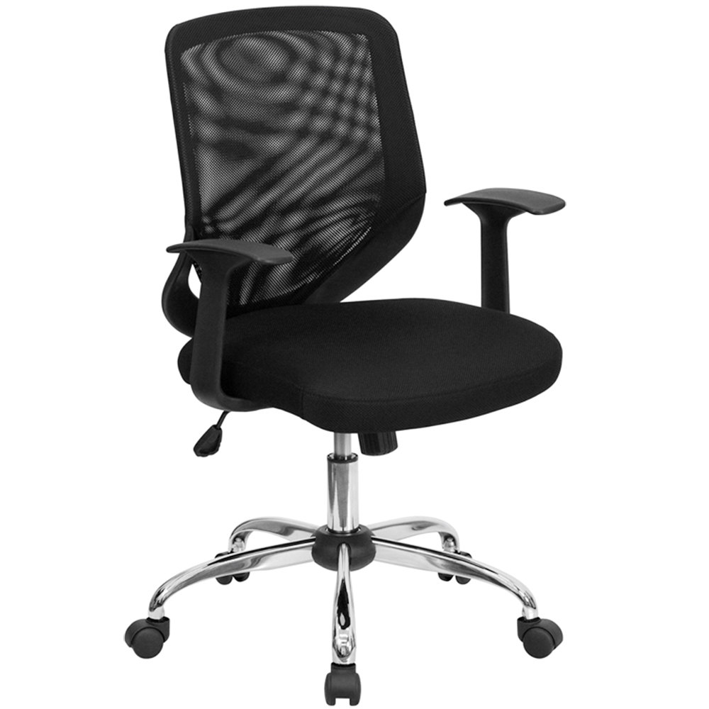 Mid Back Black Mesh Office Chair With Mesh Back And Mesh Fabric Seat