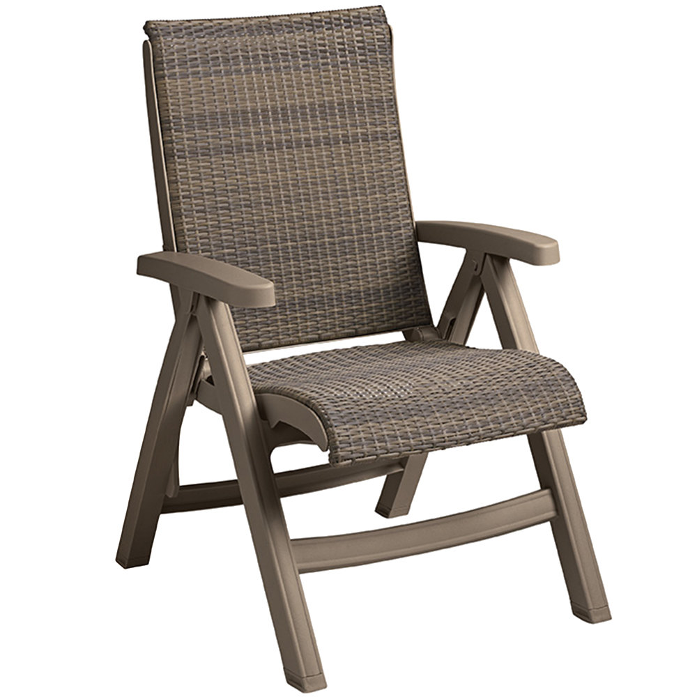 Grosfillex java ct406181 wicker resin folding chair for Chaise longue grosfillex