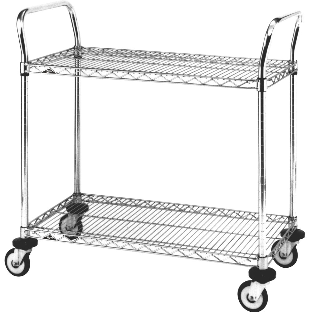 "Metro MW604 Super Erecta 18"" x 30"" x 38"" Two Shelf Standard Duty Stainless Steel Utility Cart"