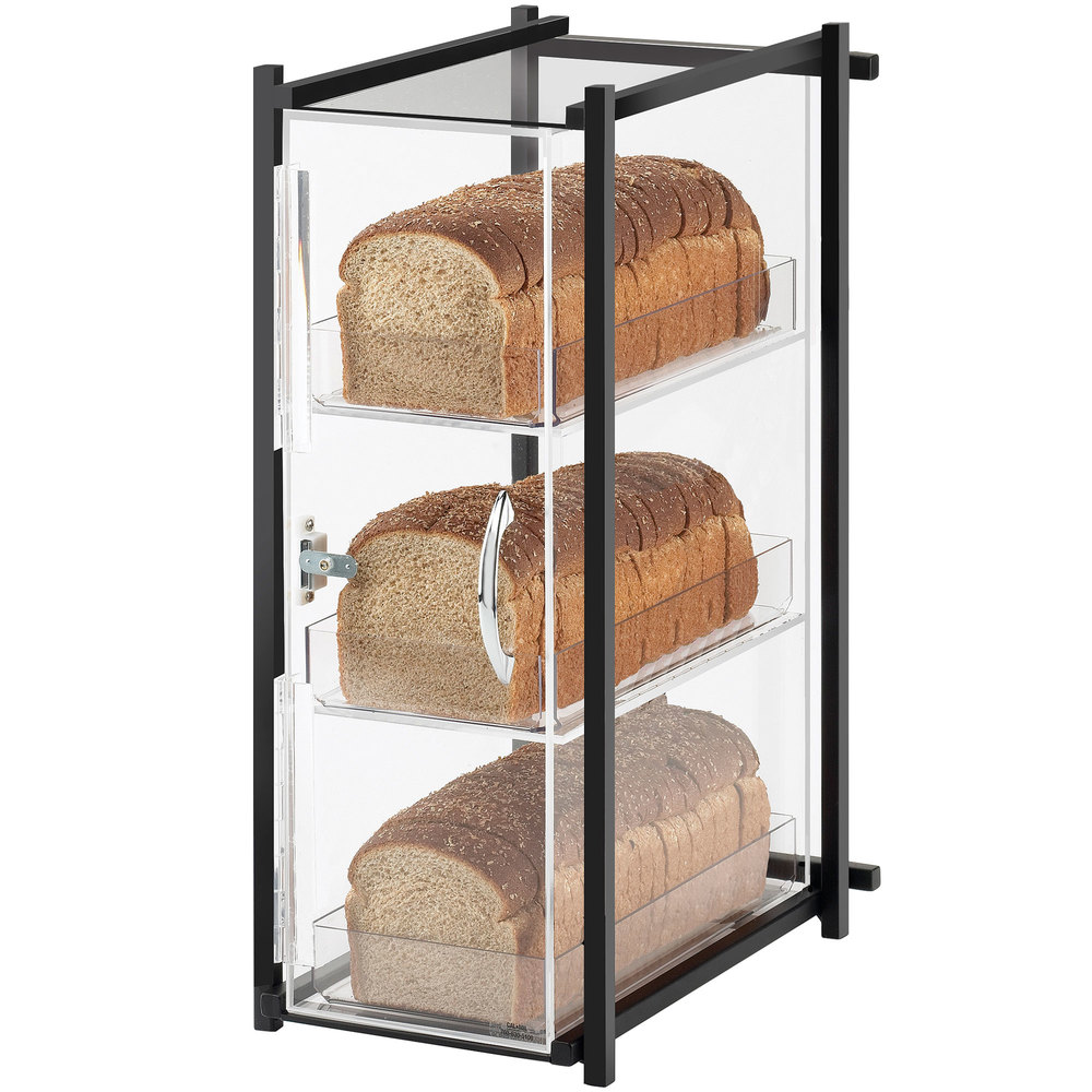 "Cal-Mil 1155-13 One by One Three Tier Black Bread Display Case - 9 1/2"" x 14 1/2"" x 19 3/4"""