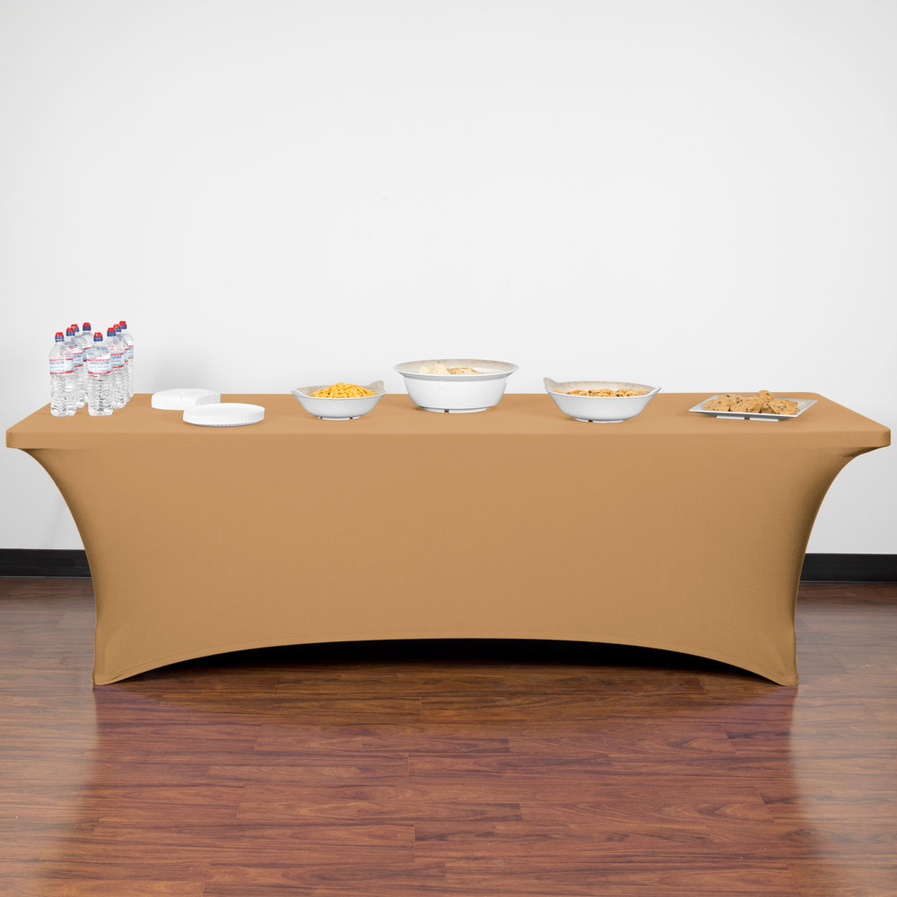 "Marko EMB5026RT830049 Embrace 96"" x 30"" Sandalwood Spandex Table Cover"