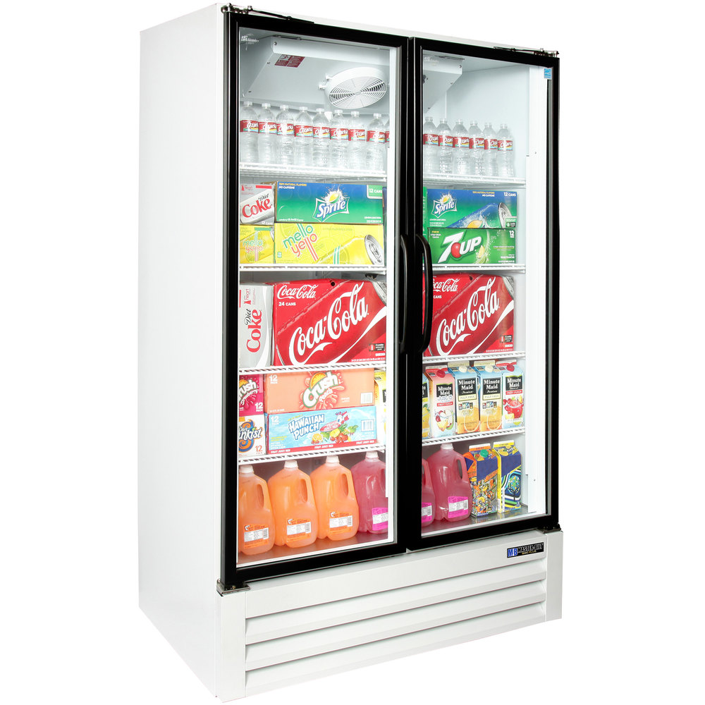 Master Bilt BMG-48-HGP Two Section Swing Glass Door White Merchandiser Refrigerator - 45.7 Cu. Ft.