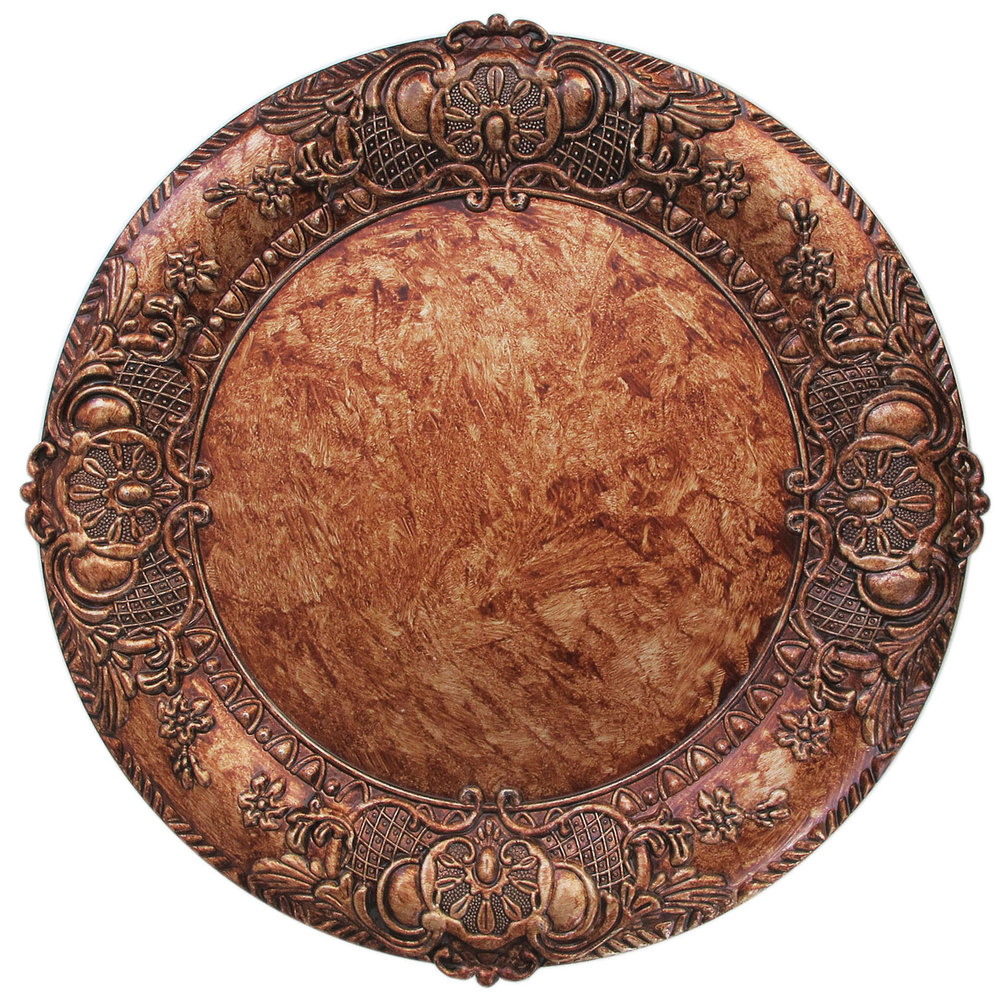The Jay Companies 1320428 14  Round Copper Embossed Polypropylene Charger Plate  sc 1 st  WebstaurantStore & The Jay Companies 1320428 14