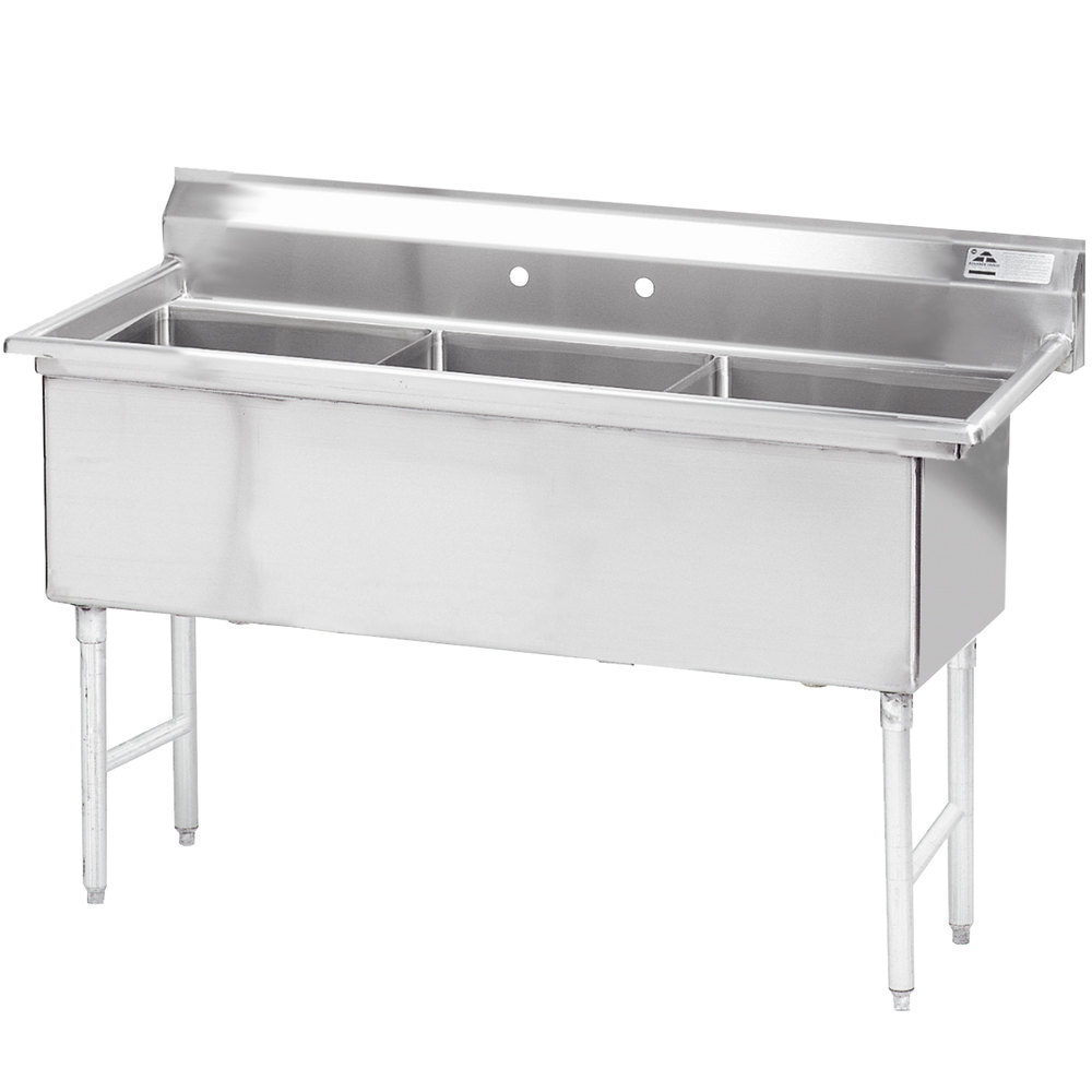 Advance Tabco FS-3-1824 Spec Line Fabricated Three Compartment Pot Sink - 59""
