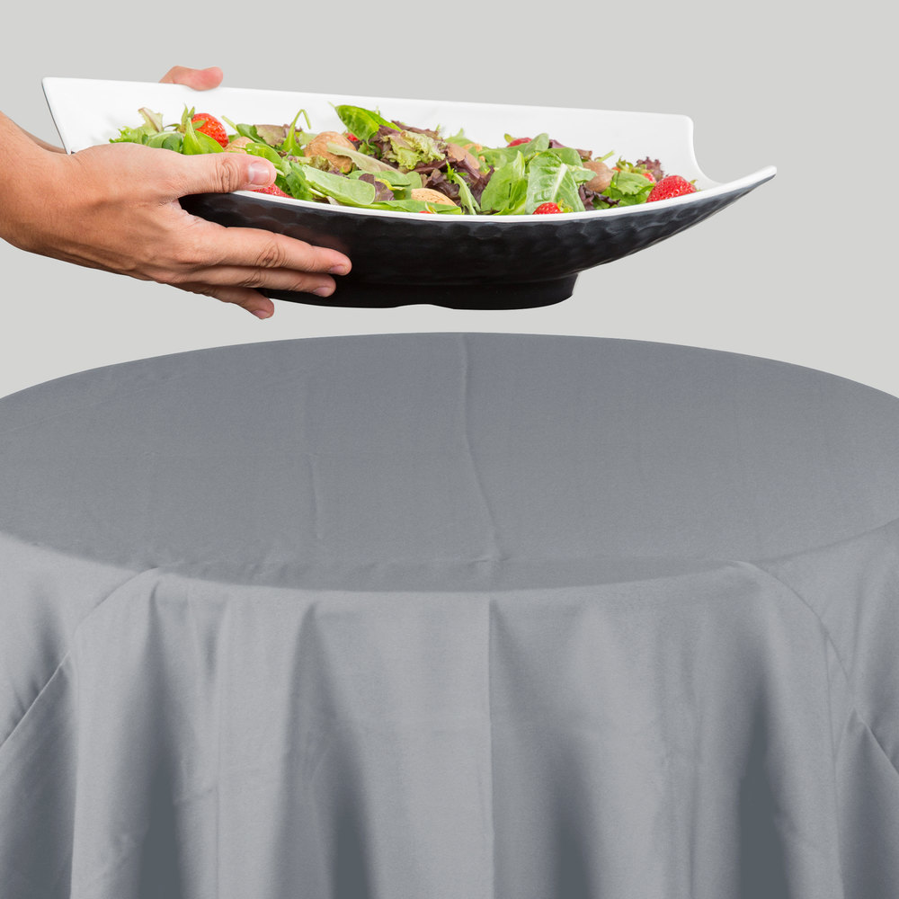 120 round gray 100 polyester hemmed cloth table cover for 120 round table cover