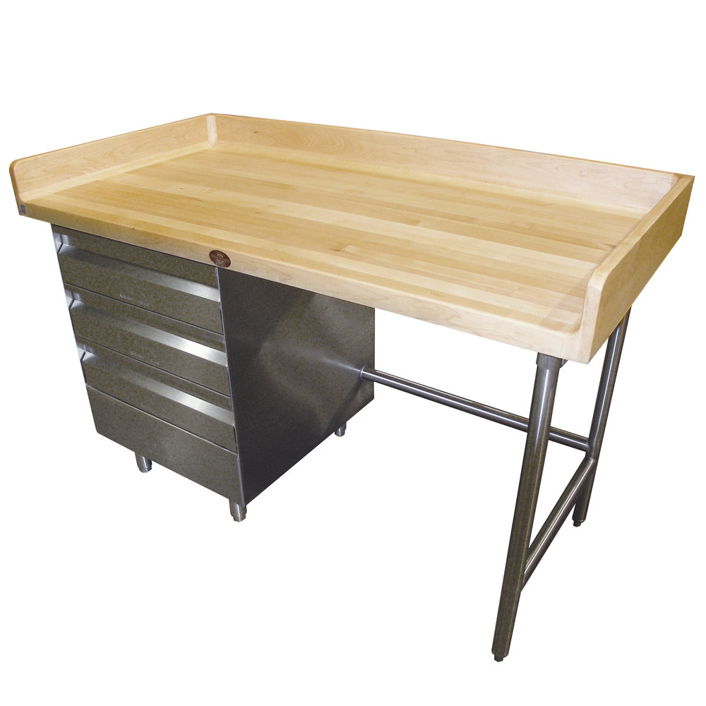 "Advance Tabco BST-365 Wood Top Baker's Table with Stainless Steel Base and Drawers - 36"" x 60"""
