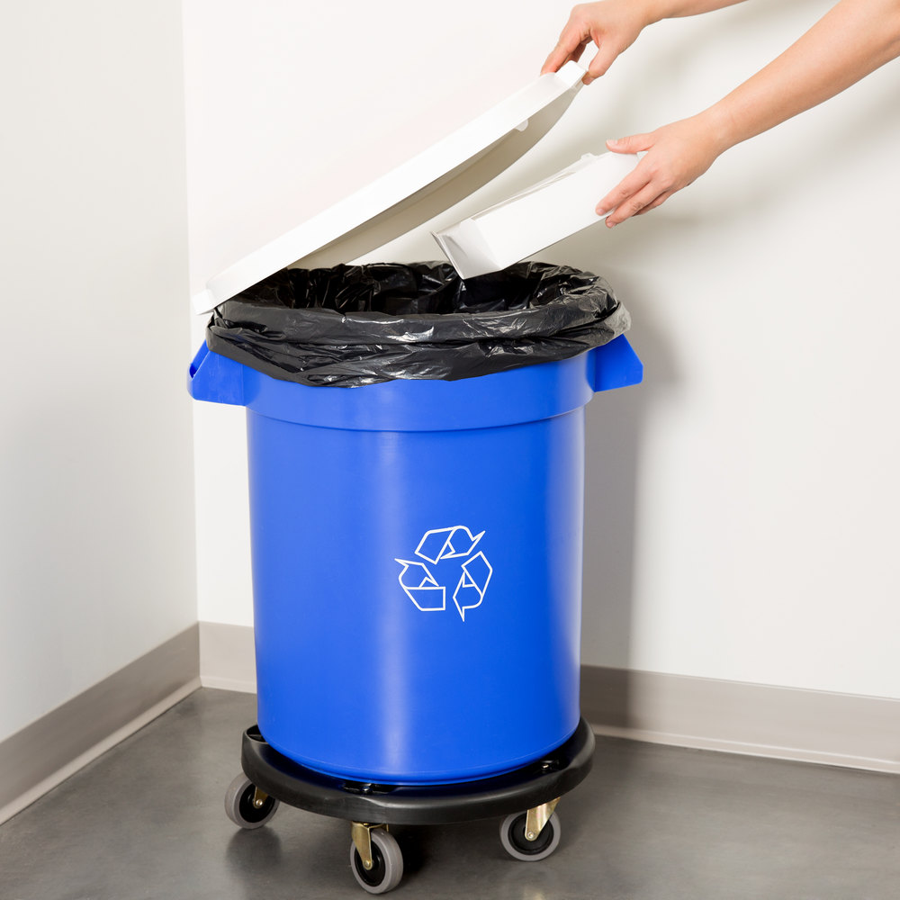 20 gallon blue recycling trash can lid and dolly kit. Black Bedroom Furniture Sets. Home Design Ideas