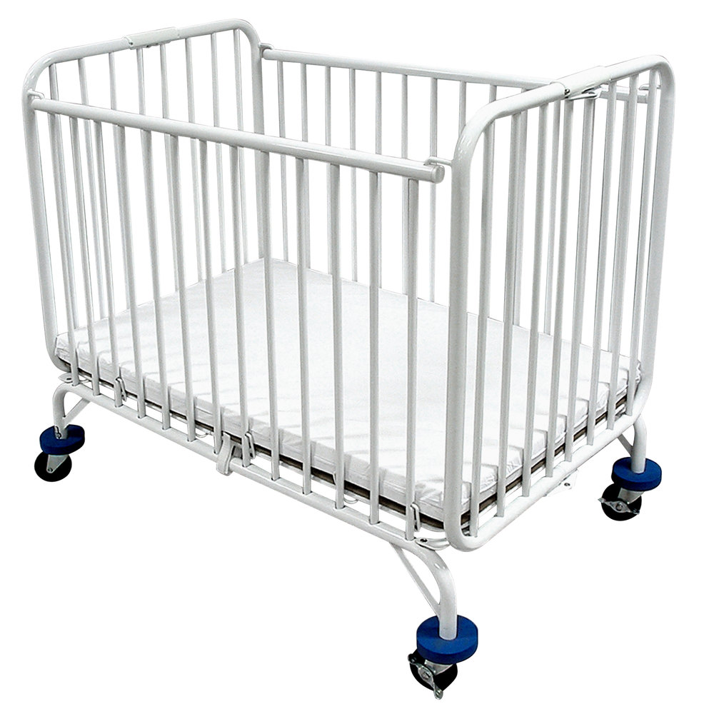 L a baby holiday crib 30 x 53 metal folding crib with 3 for Baby bed with wheels