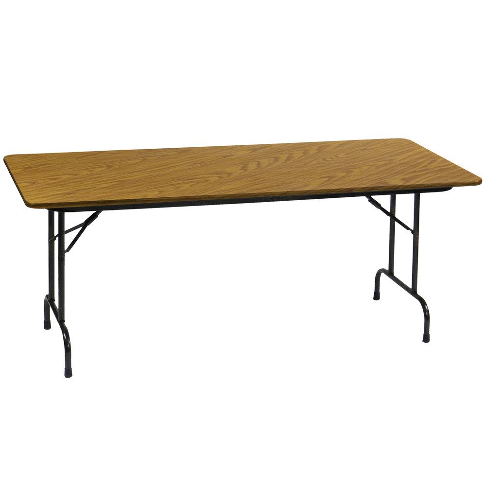 correll heavy duty folding table 30 x 72 laminate top medium oak cf3072px. Black Bedroom Furniture Sets. Home Design Ideas