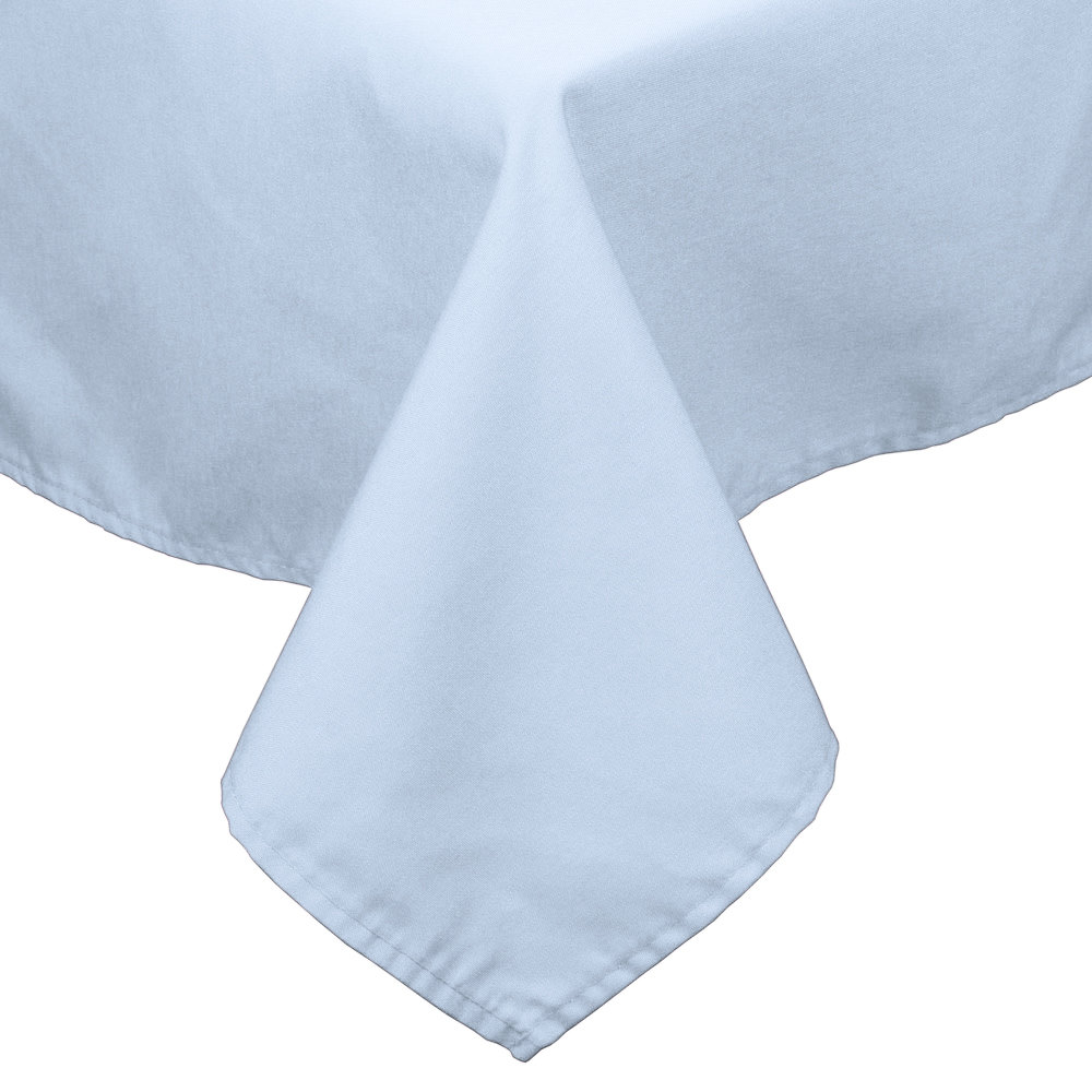 "90"" x 90"" Light Blue 100% Polyester Hemmed Cloth Table Cover"